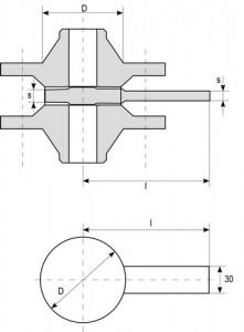 Заглушка с рукояткой плоская Т-ММ-25-01-06 эскиз